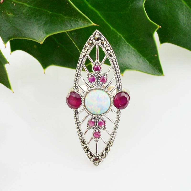 NEW Sterling 925 Art Deco Filigree Marcasite Opal & Ruby Ring