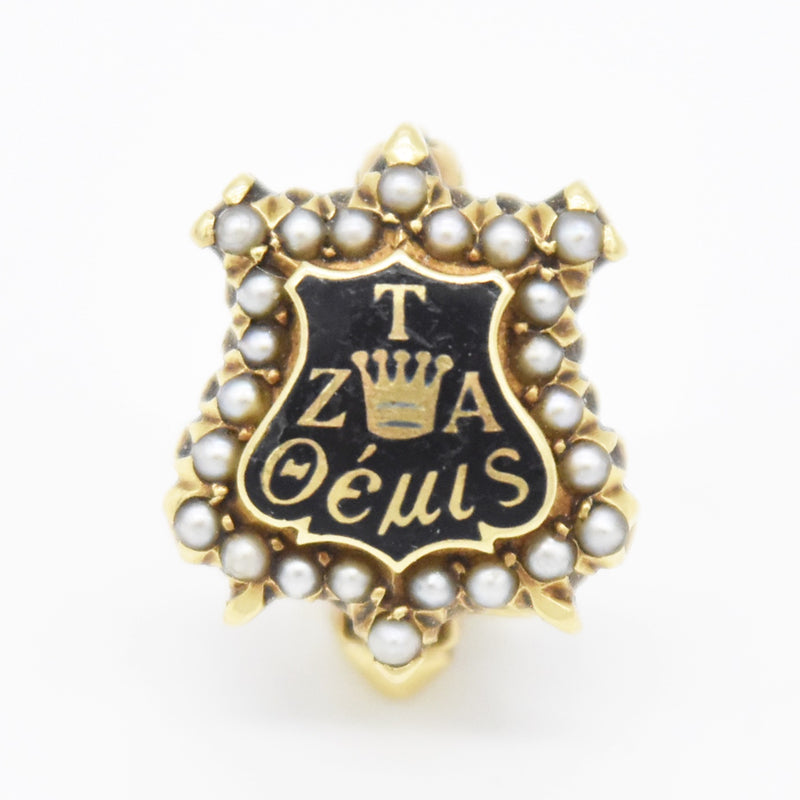 14k Yellow Gold Vintage Enamel Pearl Kappa College Pin