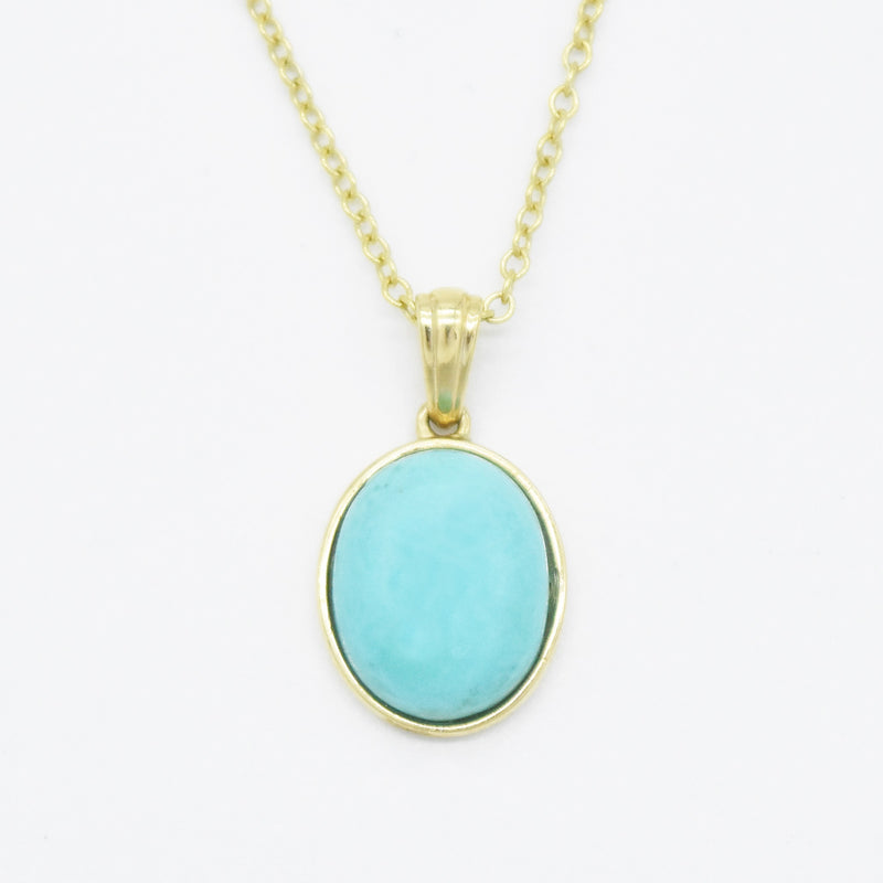 "14k Yellow Gold Estate 18"" Rolo Link Turquoise Necklace"