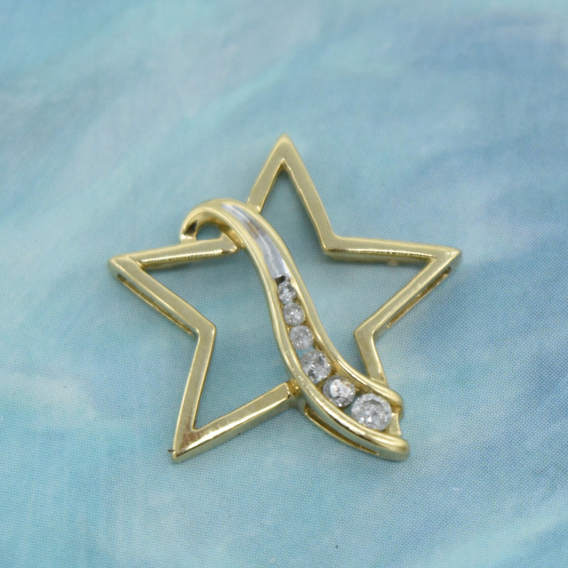 10k Yellow Gold Estate Channel Set Diamond Star Pendant