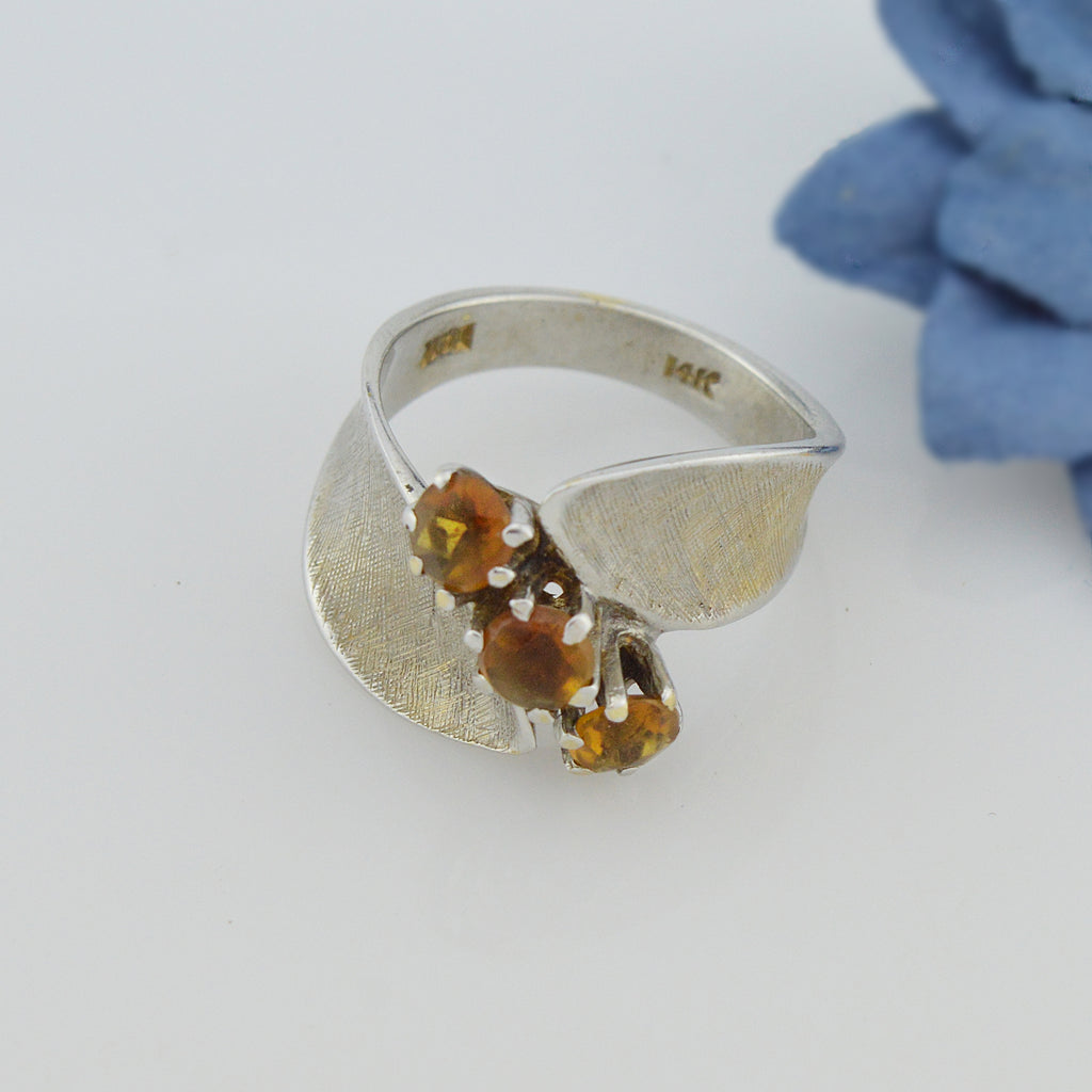 14k White Gold Estate Citrine Multistone Ring Size 6.25