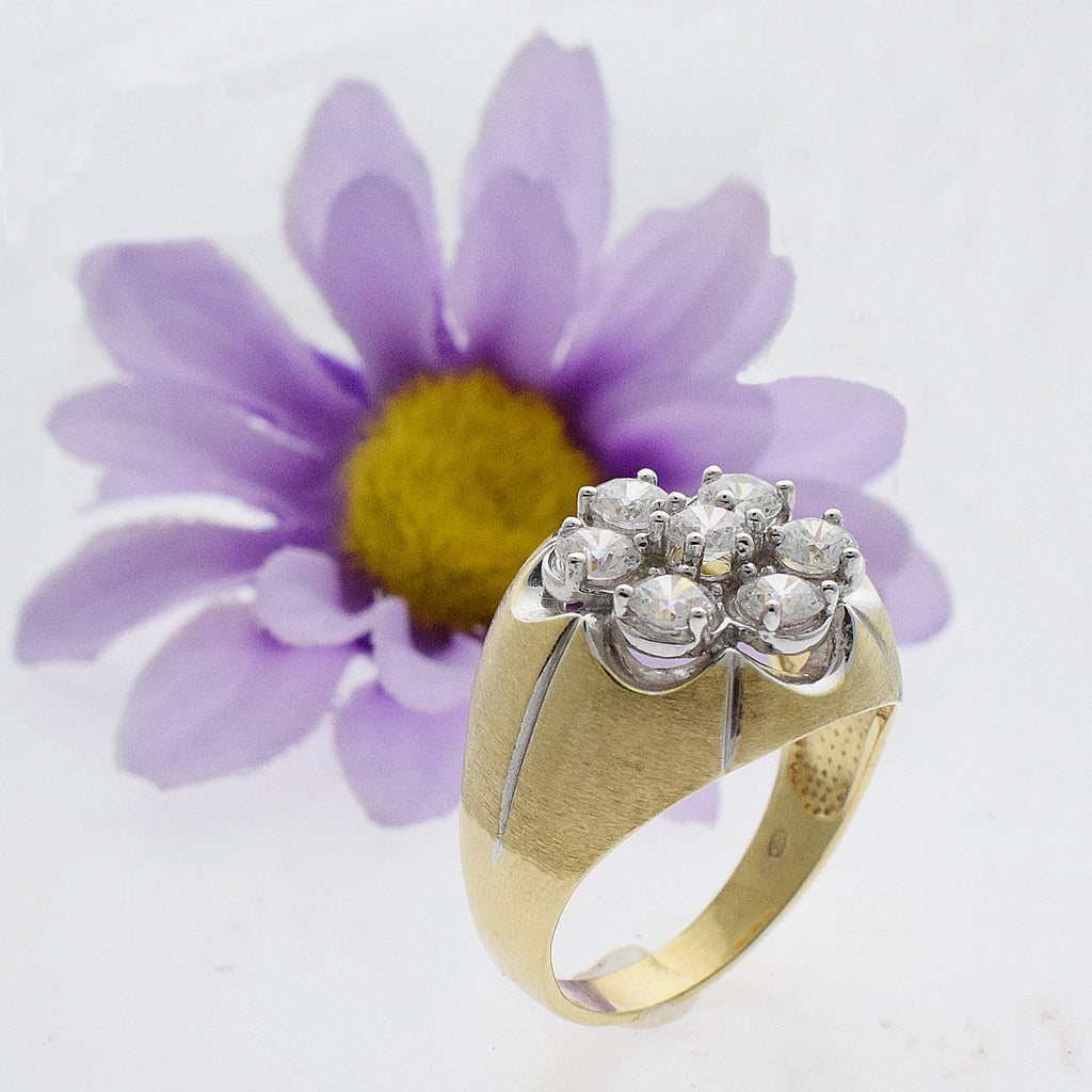 10k Yellow Gold Estate Textured CZ Cluster Ring Size 12.75