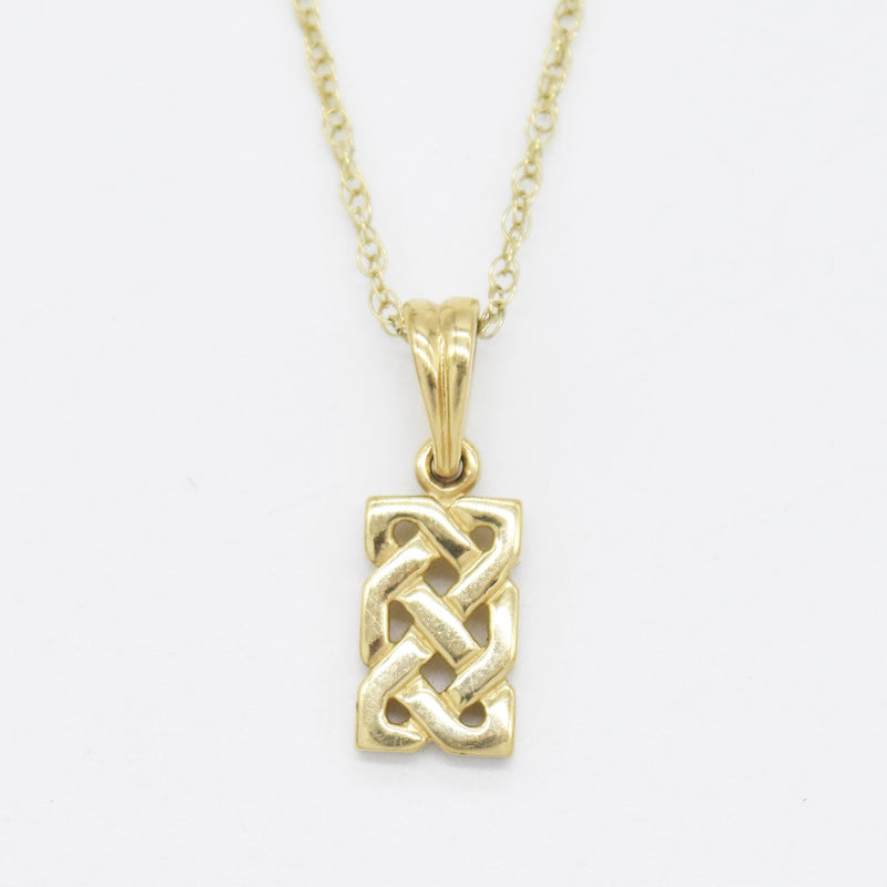 "10k Yellow Gold Estate 18"" Weave Pendant Necklace"