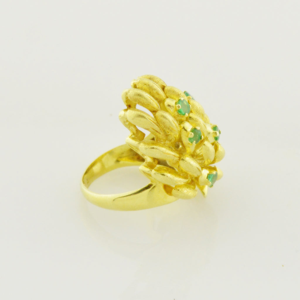 18k Yellow Gold Estate Emerald Cocktail Coral Reef Nature Ring Size 5.5