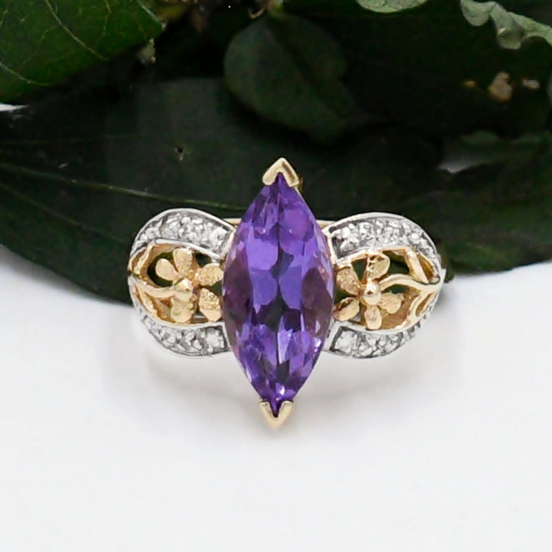 14k Yellow & White Gold Estate Flower Diamond And Amethyst Ring Size 8