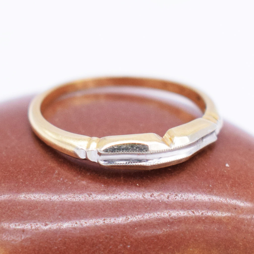 14k Yellow & WG Carved Wedding Band/Ring Size 7.25