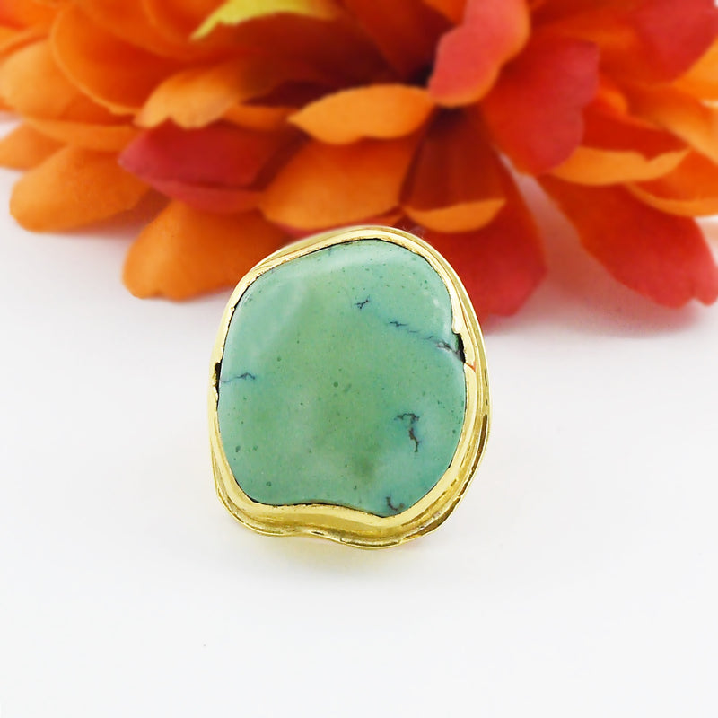 18k Yellow Gold Mid Century Modern Green Turquoise Ring Size 9