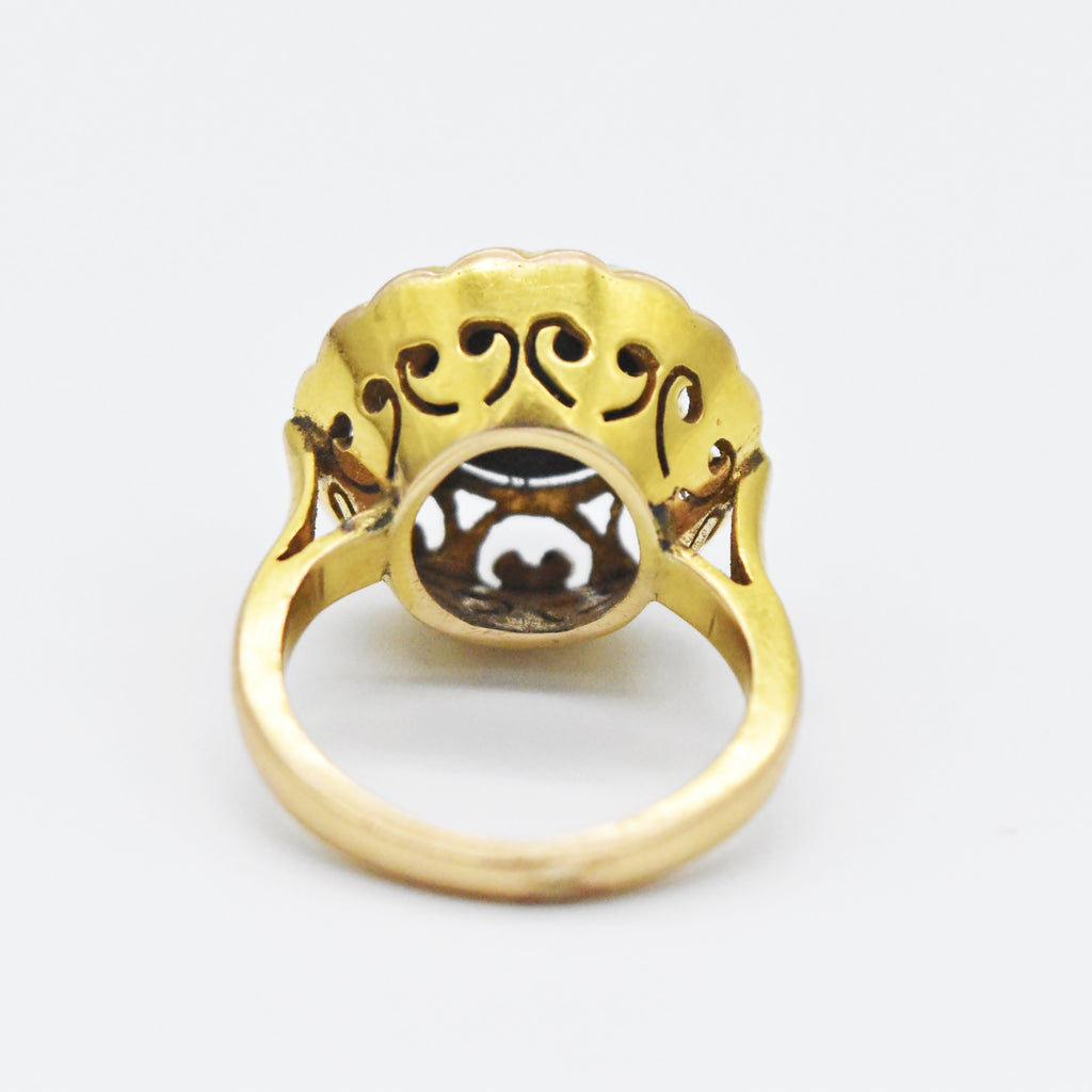 14k Yellow Gold Antique Ornate Black Tiger Eye Ring Size 4.5