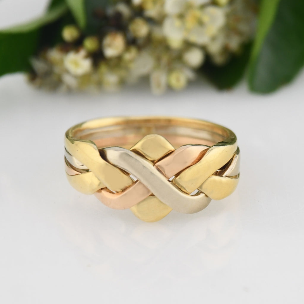 18k Multi/Tri Colored Gold Estate Abstract Puzzle Ring Size 8.75