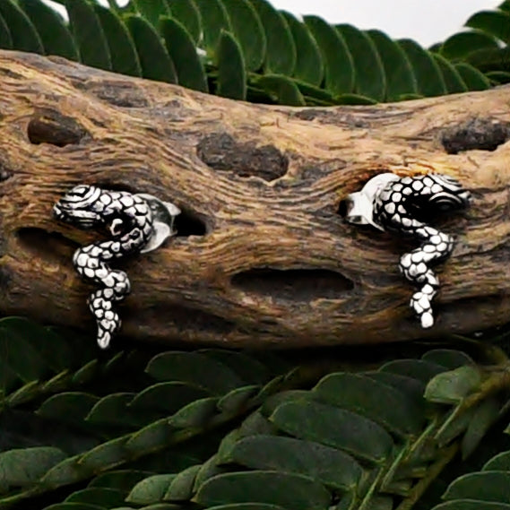 New Sterling Silver 925 Slithering Snake/Serpent Stud Post Earrings