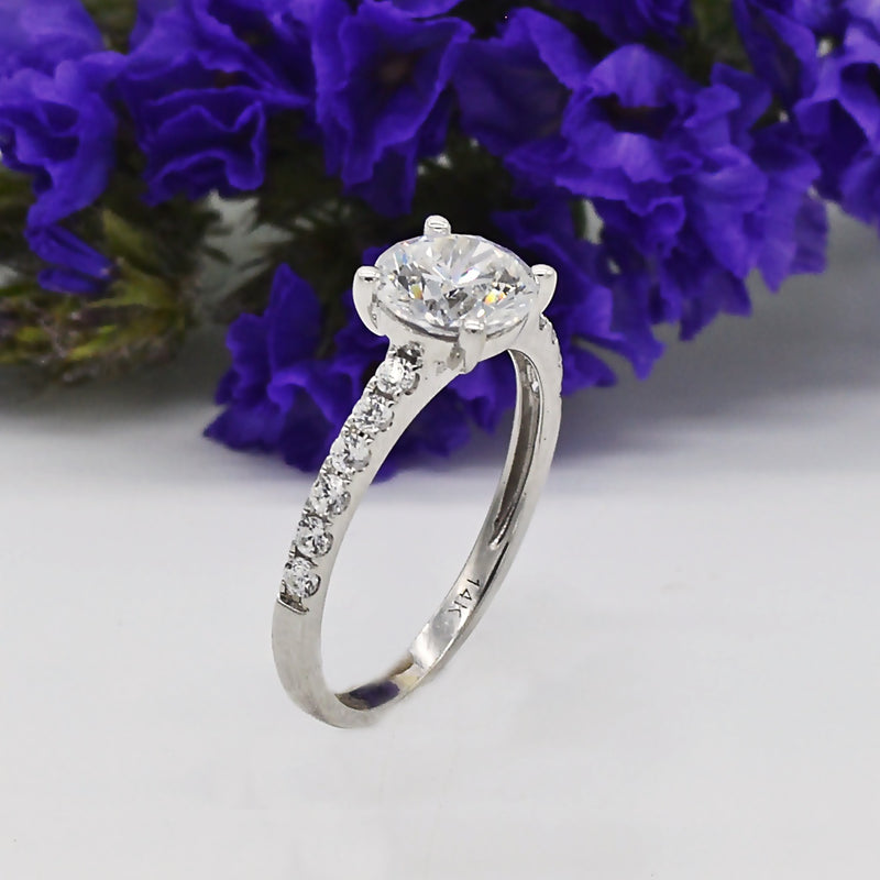14k White Gold Estate CZ Engagement Ring Size 6.75