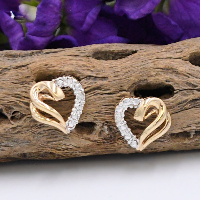 10k Yellow & White Gold Open Diamond Heart Love Post Earrings