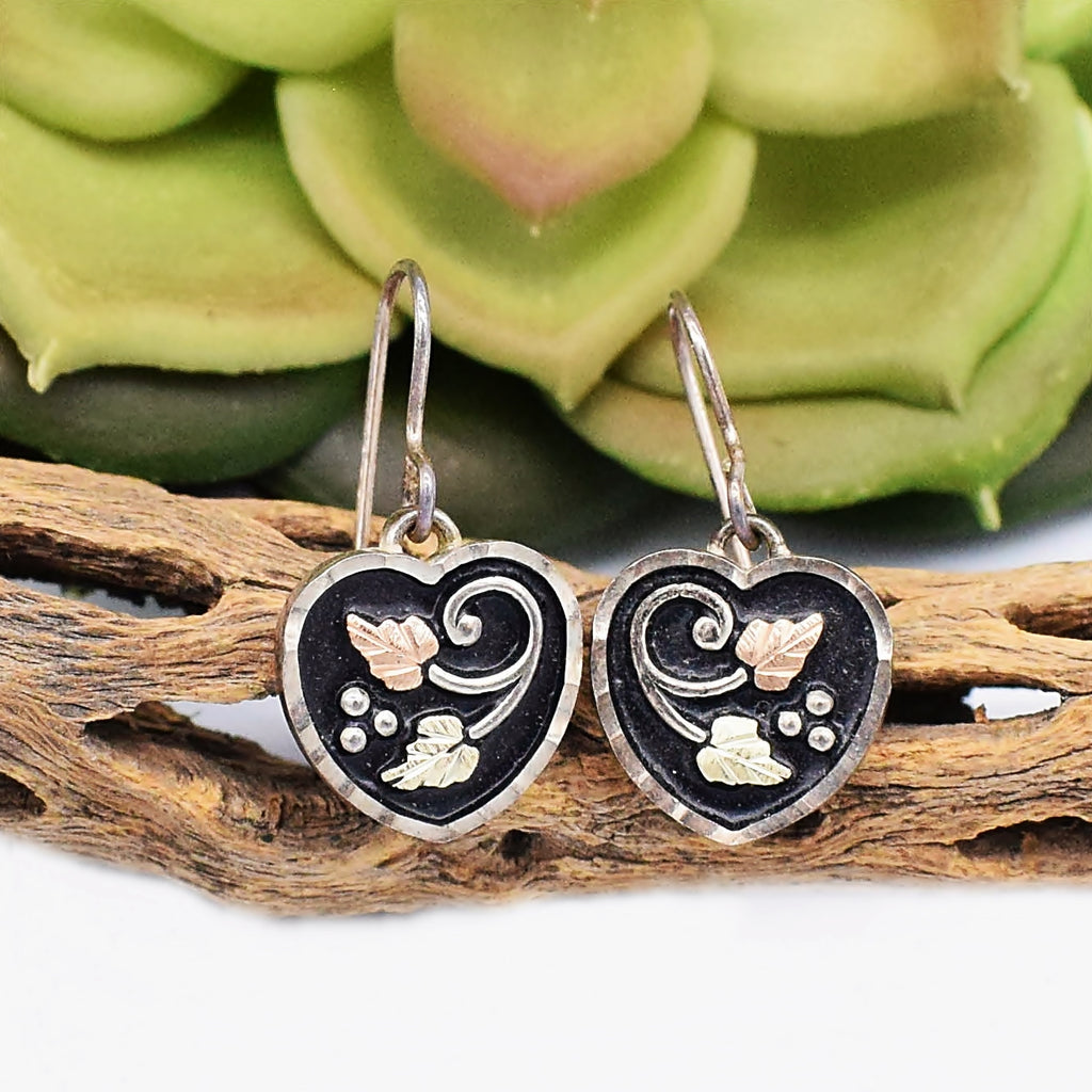 New 12k & Sterling Silver 925 Designer Gold Black Hills Heart Earrings