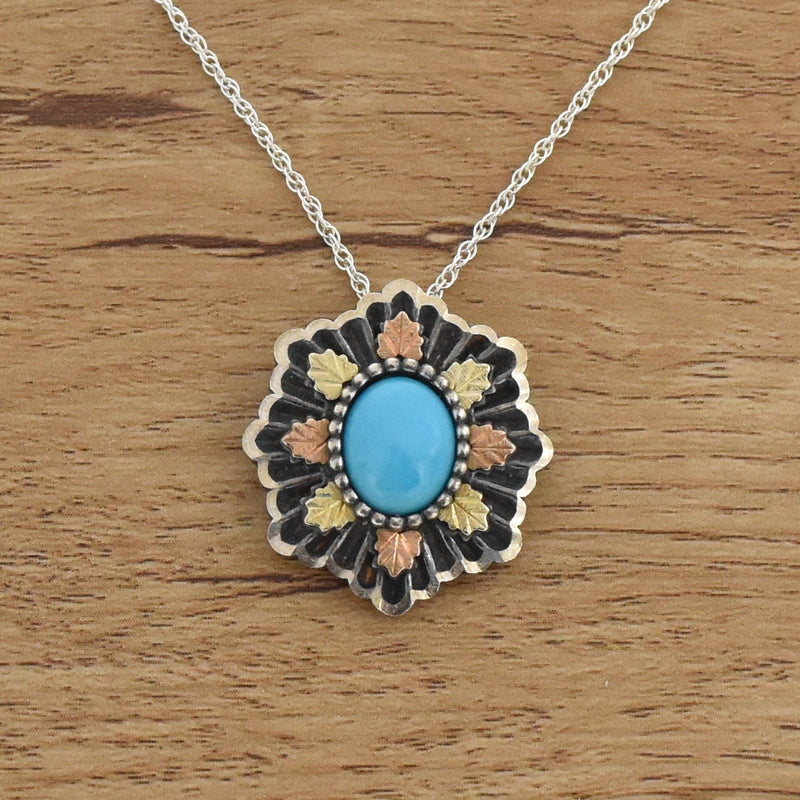 "Sterling Silver 925 & 12k Black Hills Gold 18"" Turquoise Necklace"