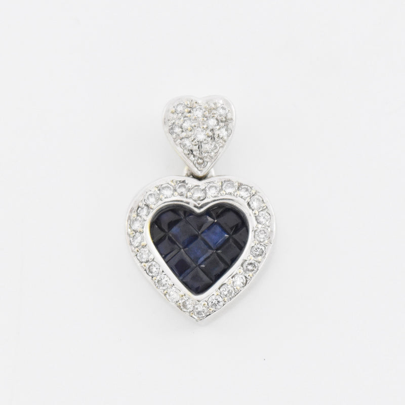 18k White Gold Estate Diamond & Sapphire Heart Drop/Dangle Pendant