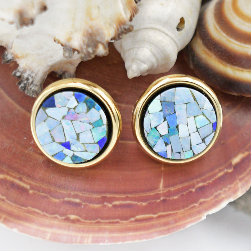 "14k Yellow Gold Estate Mosaic Round Post Earrings 3/4"" Tall"