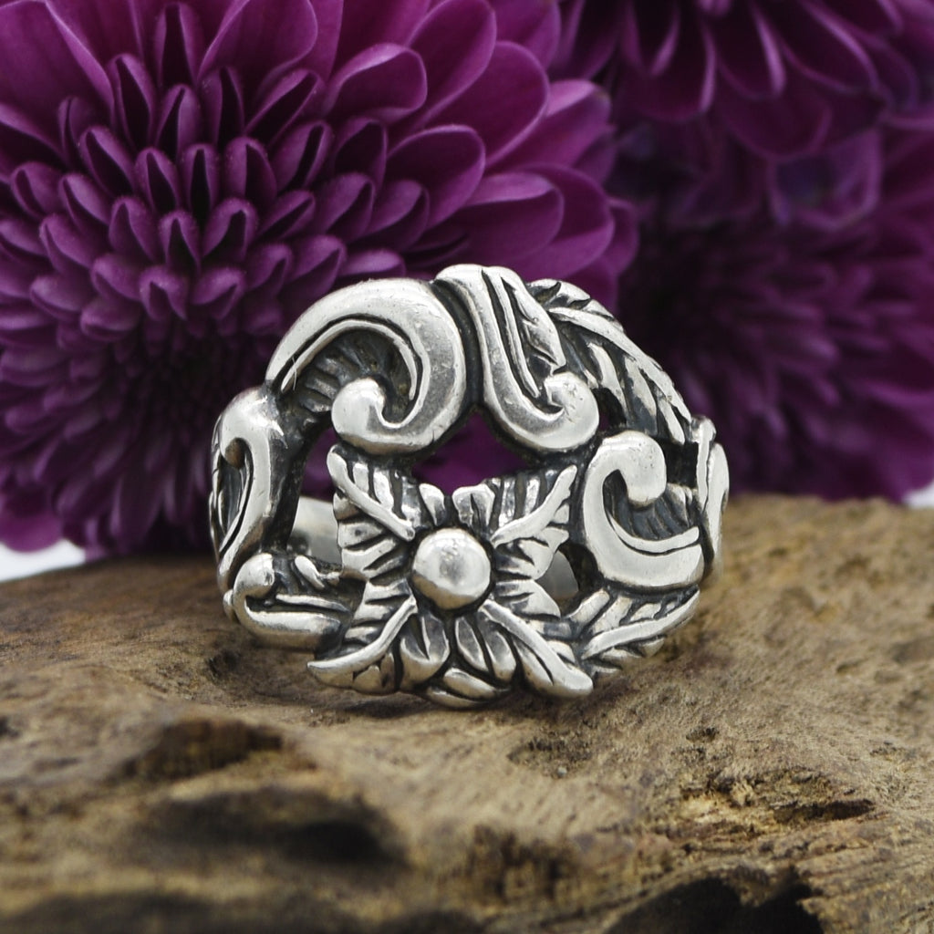 Sterling Silver CAROLINA POLLACK Open Flower Design Ring Size 8.25