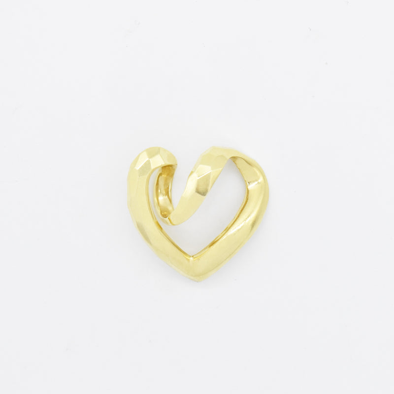 14k Yellow Gold Estate Textured Swirl Open Heart Pendant