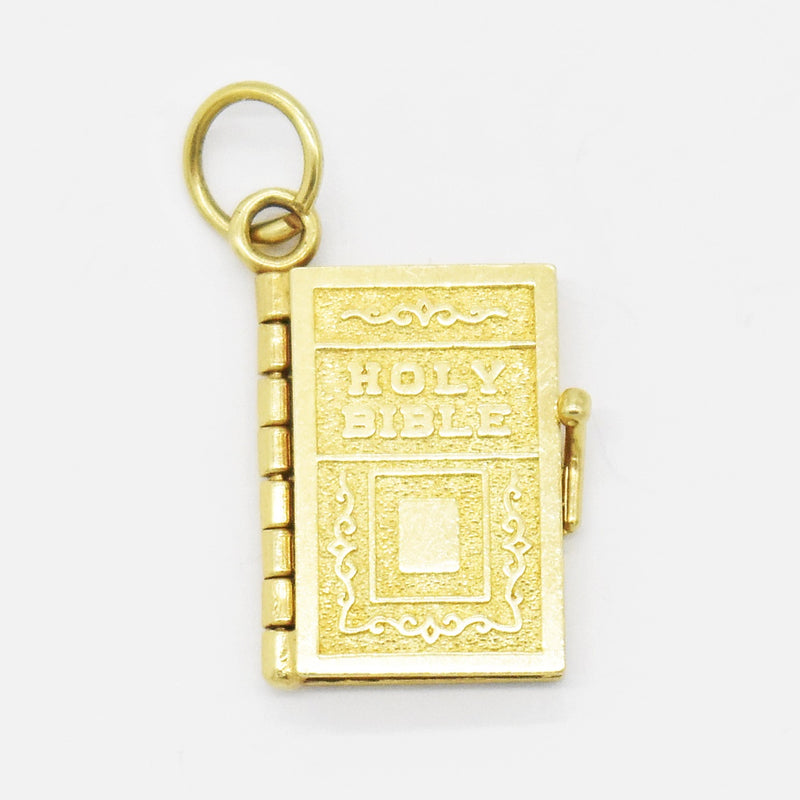 14k Yellow Gold Estate Textured Holy Bible Book Charm/Pendant