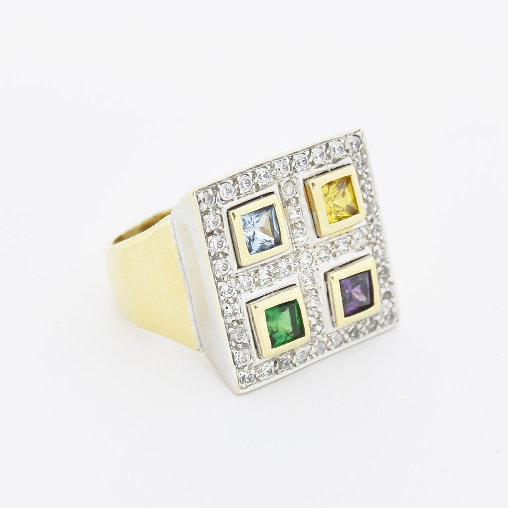 14k Y/W Gold Multi Colored Gemstone & CZ Cocktail Ring Size 9