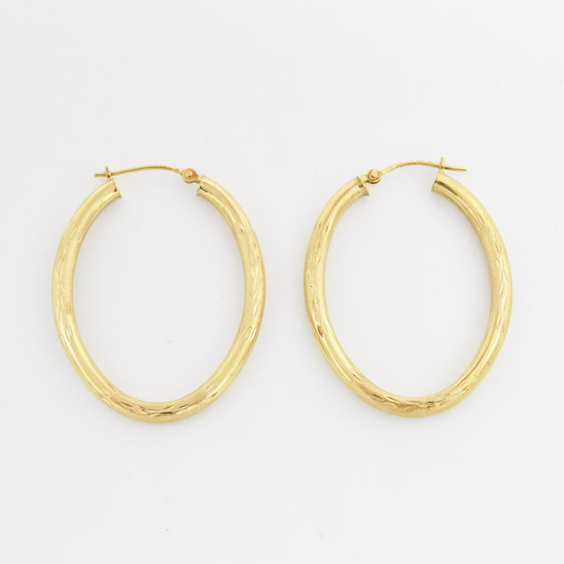 "14k Yellow Gold Estate Textured 1 1/2"" Oval Hoop Earrings"