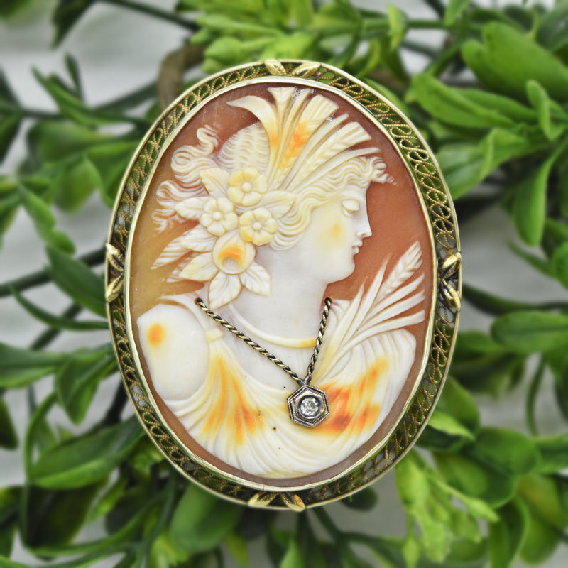 14k Yellow Gold Large Antique Diamond Carved Cameo Brooch/Pin