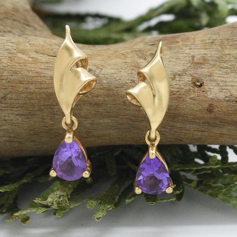 10k Yellow Gold Estate Swirl Amethyst Drop/Dangle Post Earrings