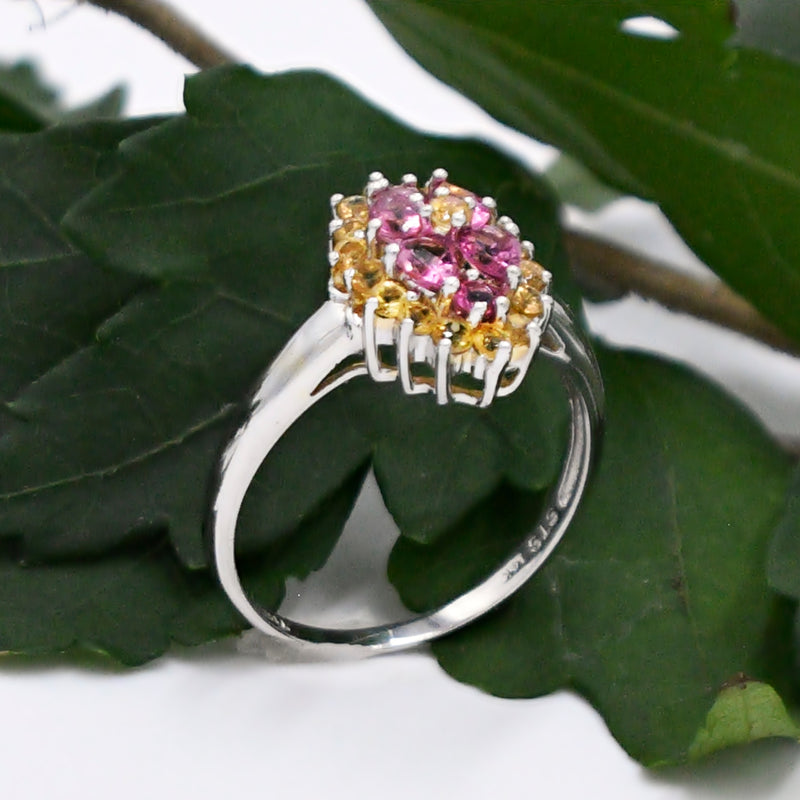 14k White Gold Estate Designer STS Pink Amethyst & Citrine Ring Sz 10