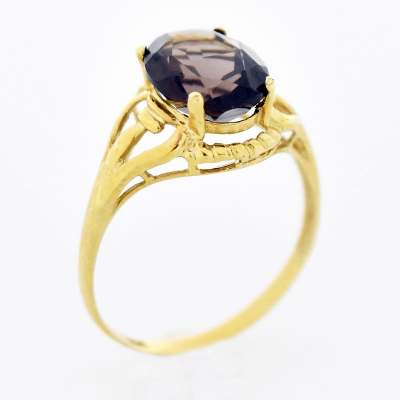 10k Yellow Gold Estate Open Work Smokey Quartz Ring Size 7.25