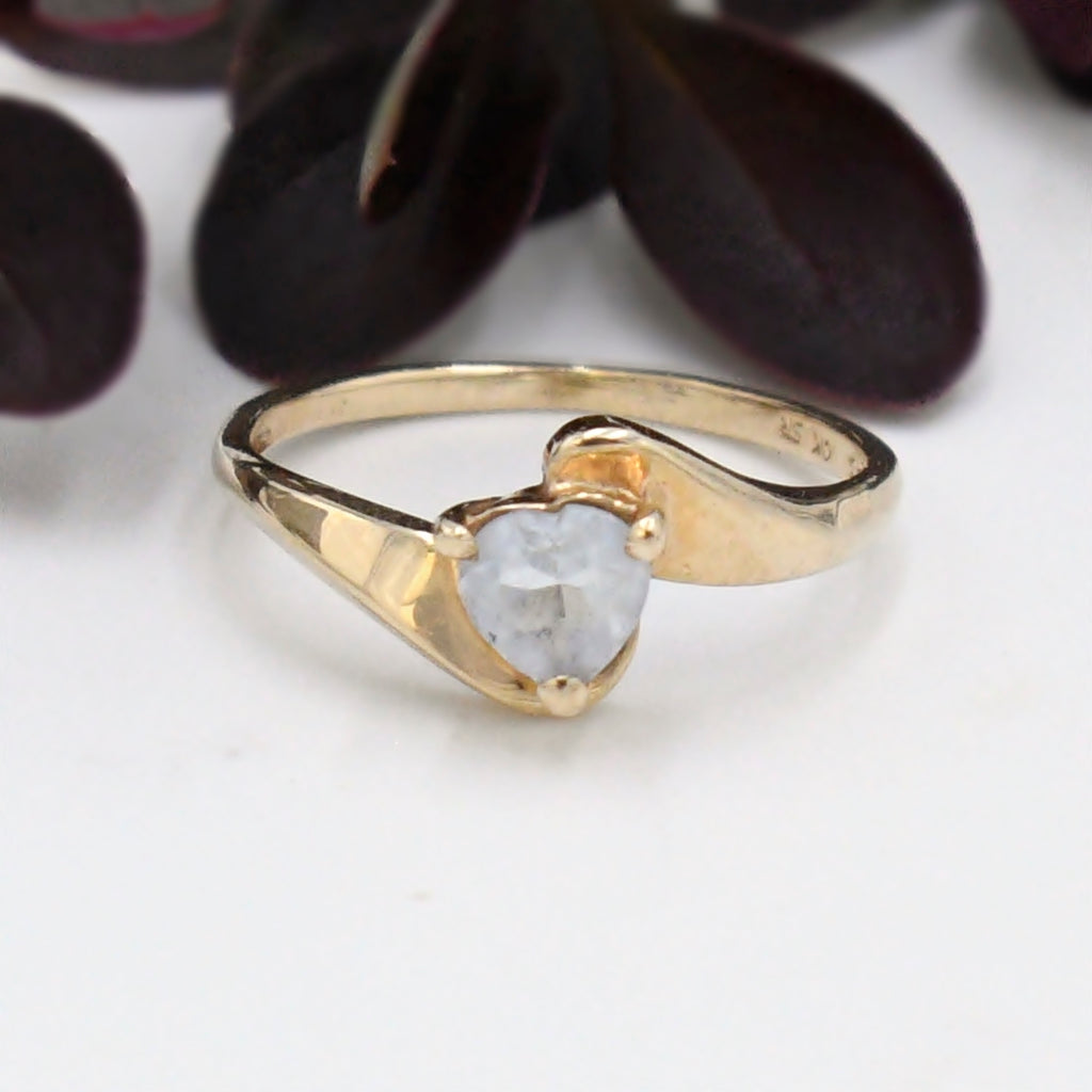 10k Yellow Gold Estate Aquamarine Gemstone Swirl Ring Size 5.75