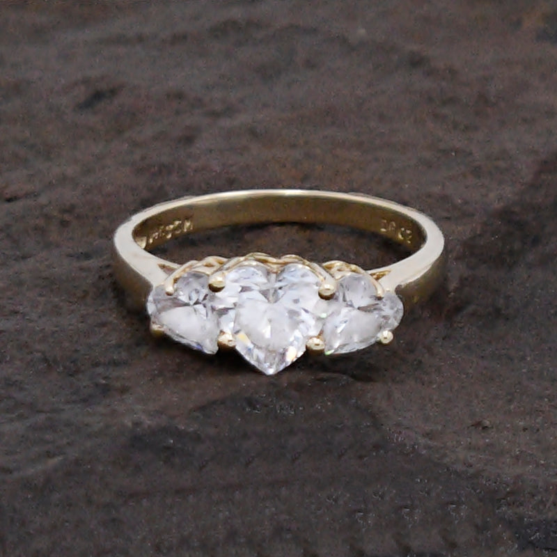 14k Yellow Gold Estate 3 Stone Heart/Love CZ Ring Size 7