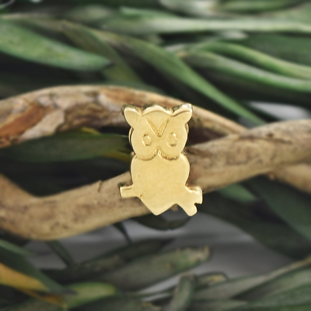 14k Yellow Gold Estate Etched Owl Pendant