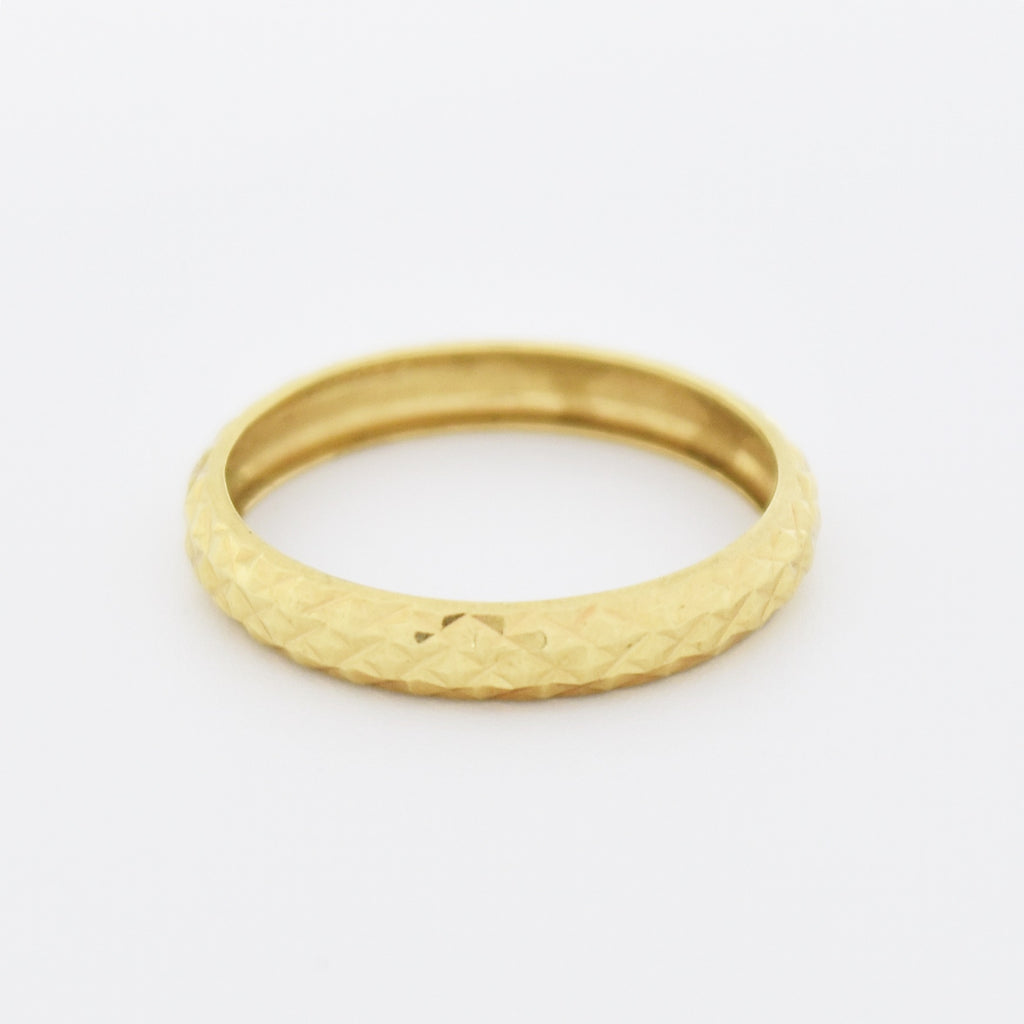 18k Yellow Gold Estate Textured Wedding Band/Ring Size 6.25