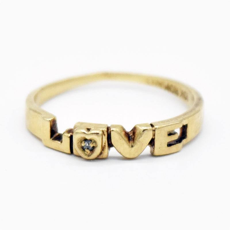 10k Yellow Gold Estate Diamond Love Heart Ring Size 6.5