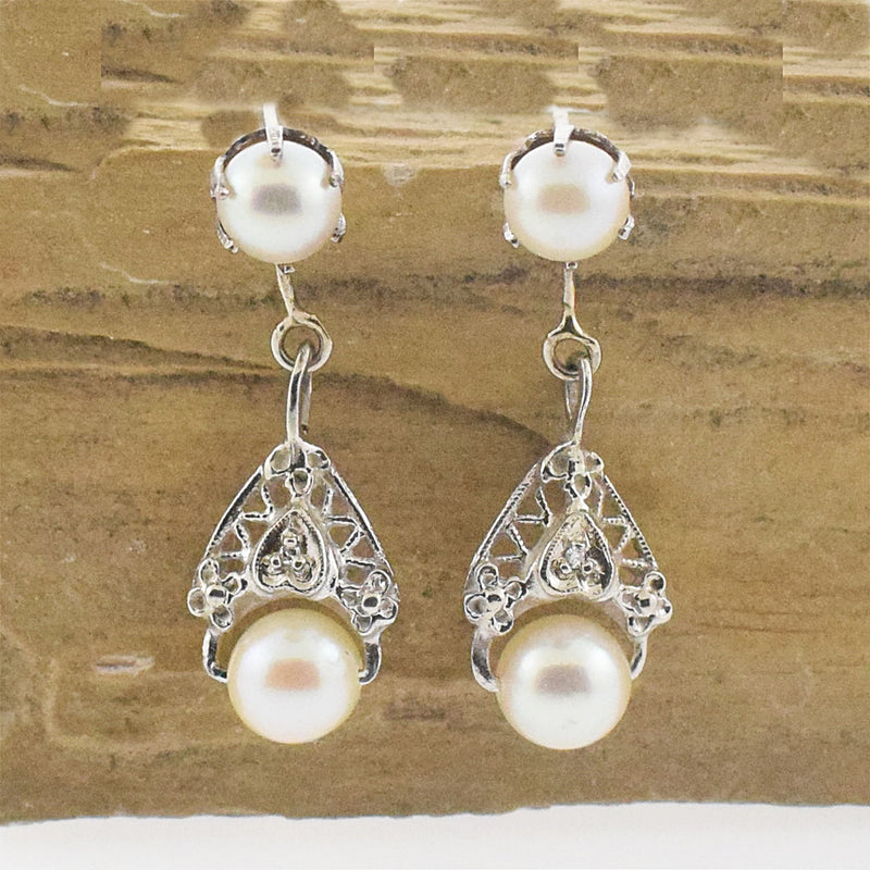 14k WG Deco Style Pearl & Diamond Drop/Dangle Post Earrings