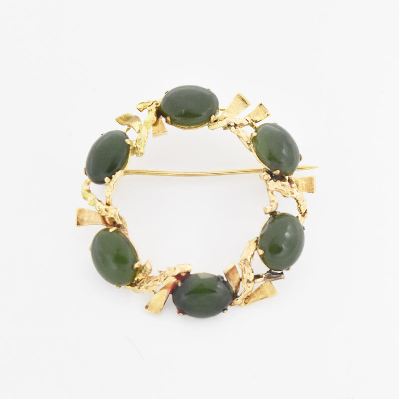 14k Yellow Gold Estate Abstract 6 Stone Jade Open Circle Pin/Brooch