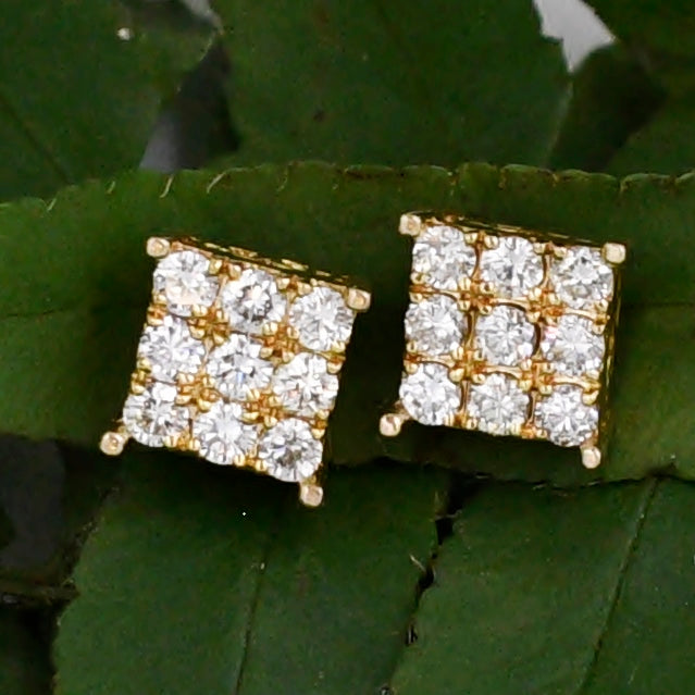 14k Yellow Gold Estate Filigree Diamond .36 tcw Cluster Post Earrings