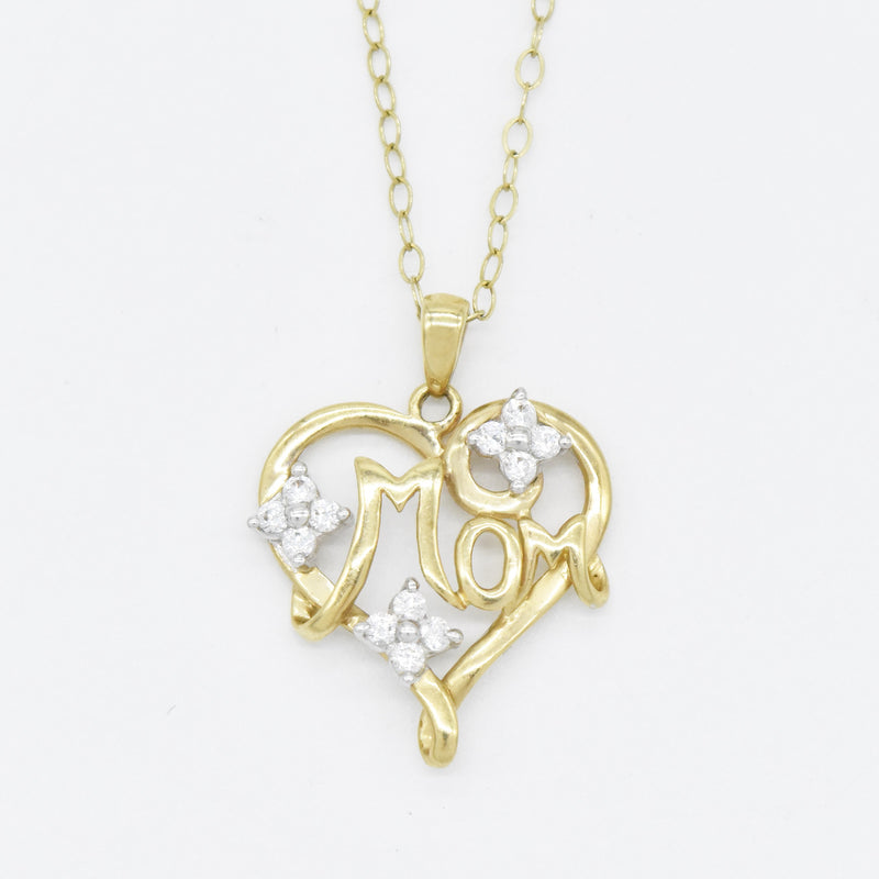 "10k Yellow Gold Estate 16.25"" Rolo Link CZ Heart Mom Necklace"