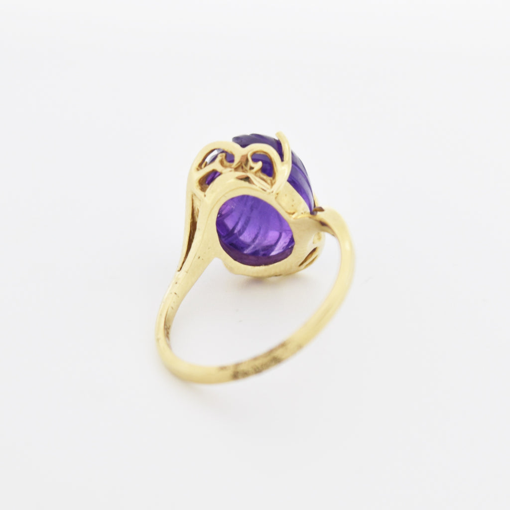 10k Yellow Gold Estate Swirl Carved Amethyst Dome Ring Size 7