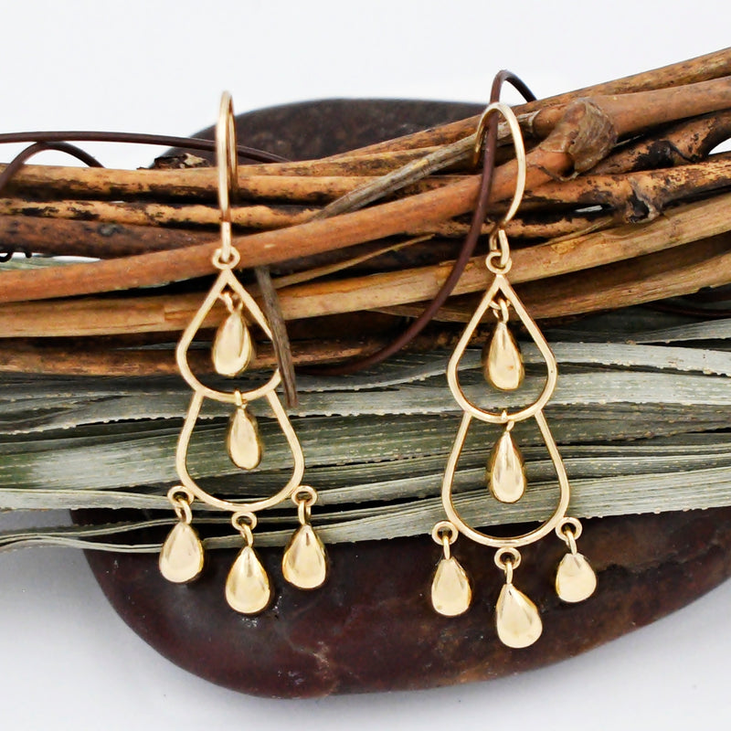 14k Yellow Gold Estate Double Teardrop/Pear Dangle Earrings