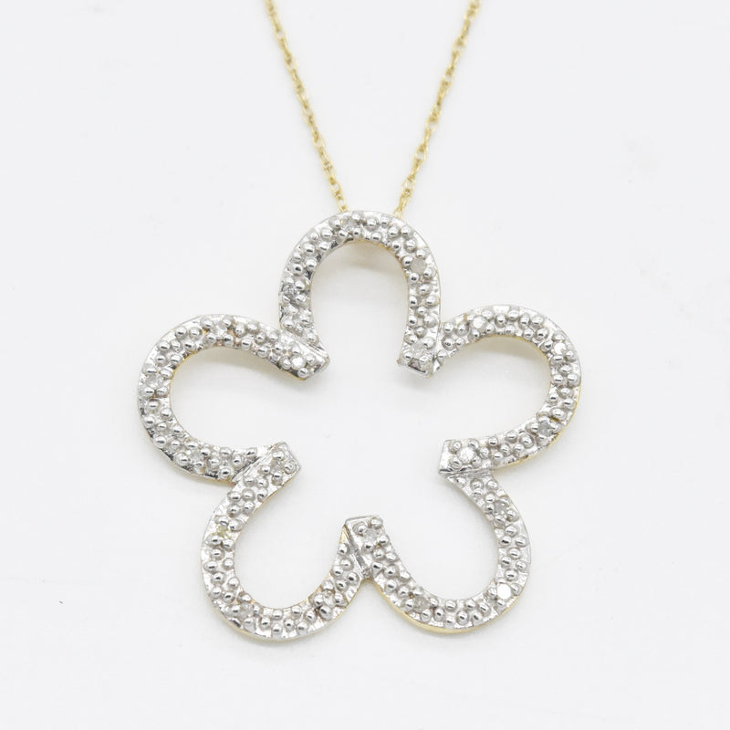"10k Yellow & White Gold Open Diamond Flower 18"" Necklace"
