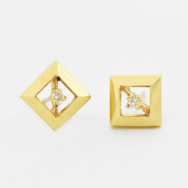 14k Yellow Gold Estate Diamond Solitaire Post Earrings