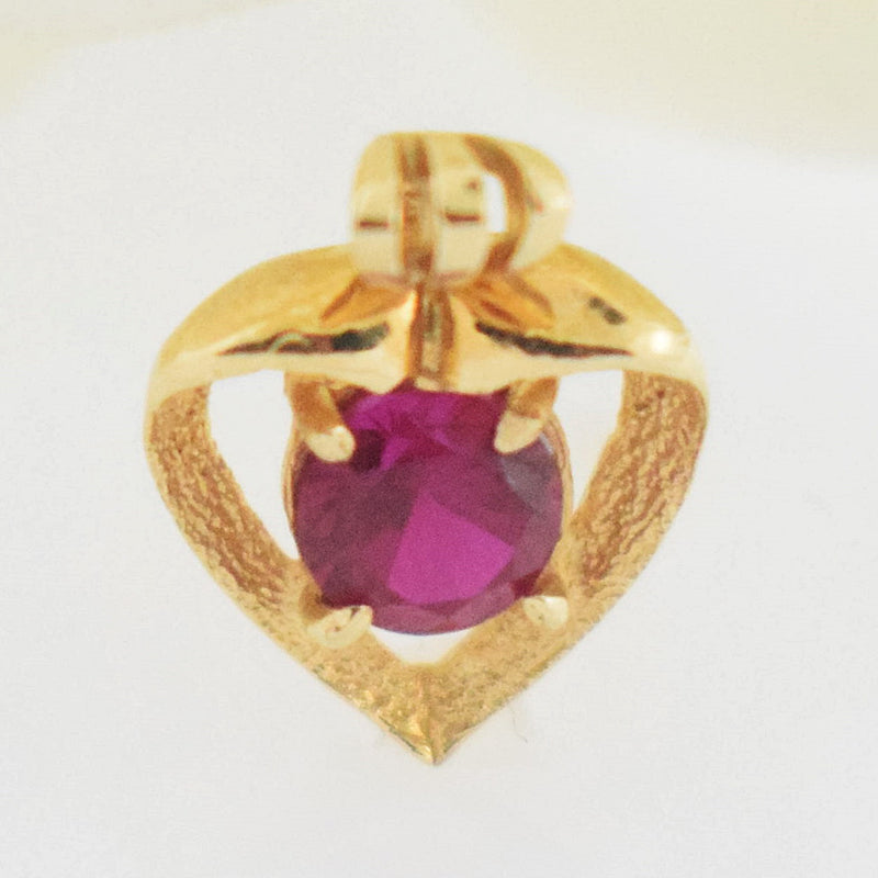 14k YG Open Ruby Heart Pendant