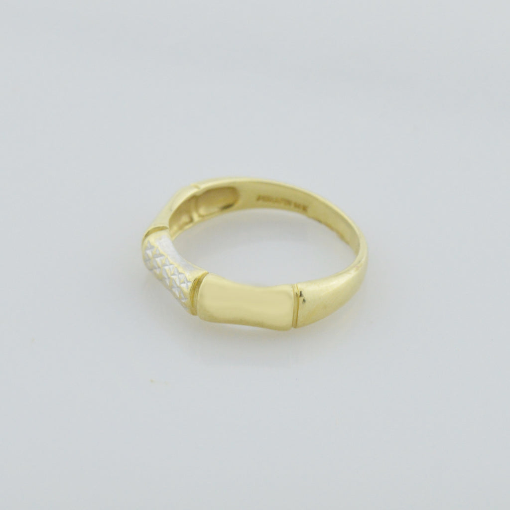 14k Yellow Gold Estate Diamond Cut Bamboo Style Band/Ring Size 7