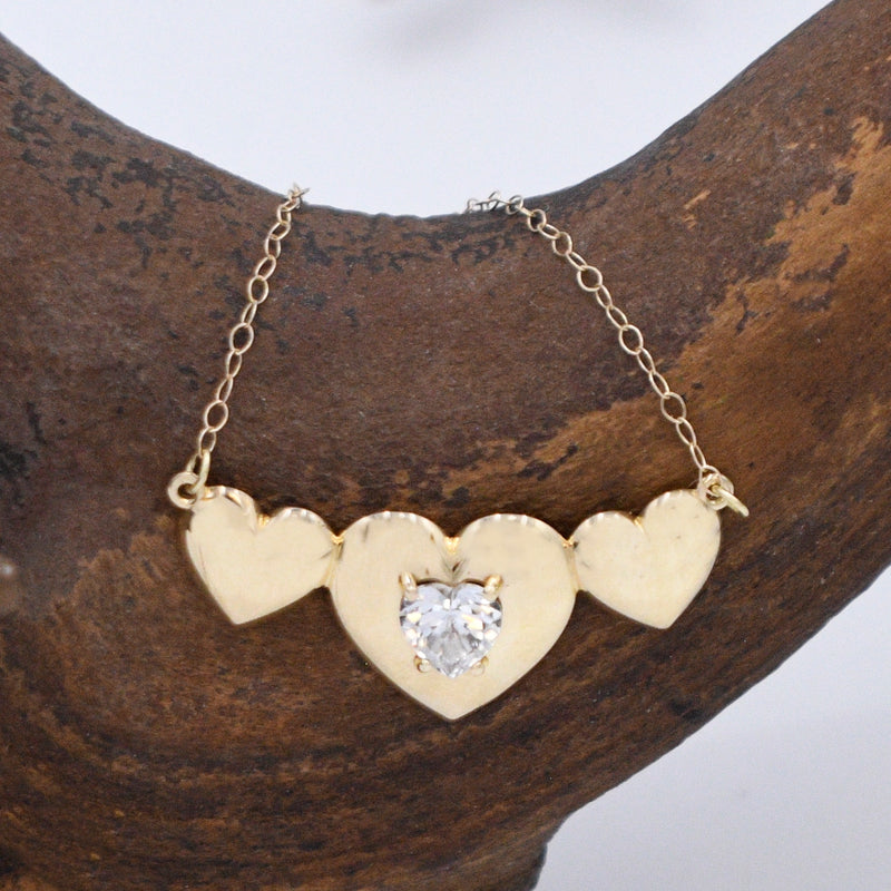 "10k Yellow Gold Estate 3 Heart CZ Gemstone Necklace 18 1/4"" Long"