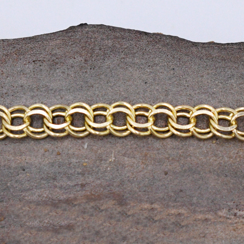 "14k Yellow Gold Estate Double Rolo Link Bracelet 7"" Long"