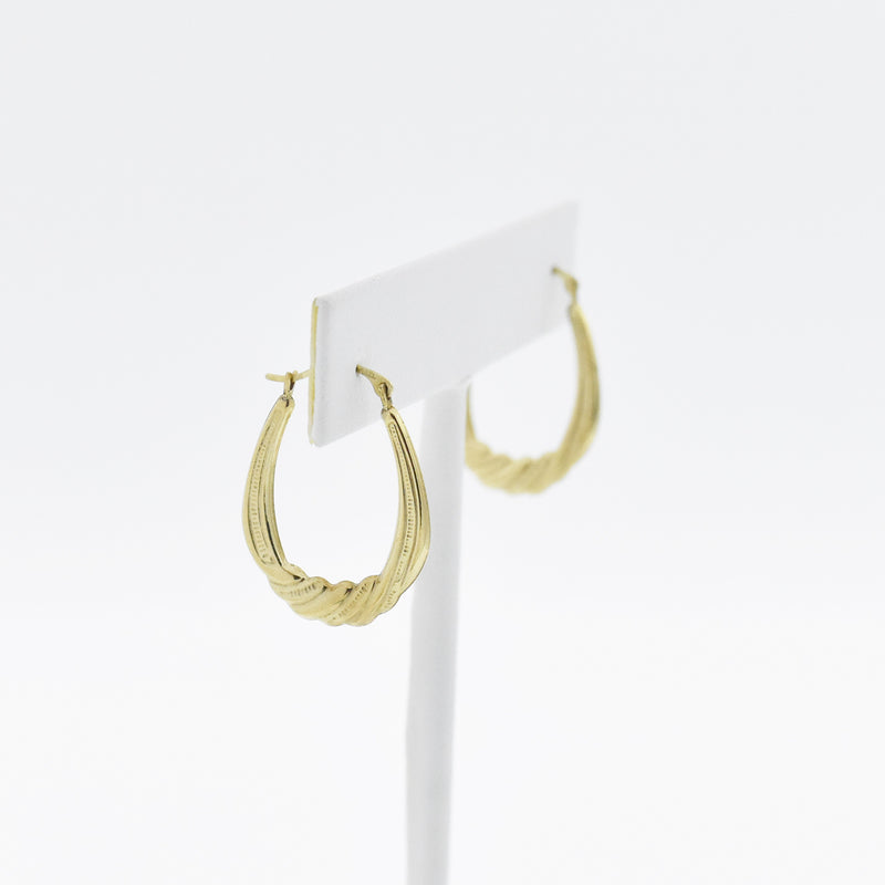 "10k Yellow Gold Estate 1"" Textured Twisted Oval Hoop Earrings"