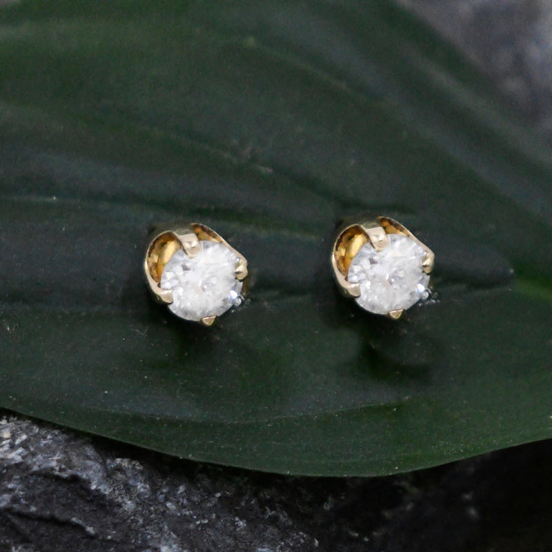 14k Yellow Gold Estate Diamond Studs/Stud Earrings