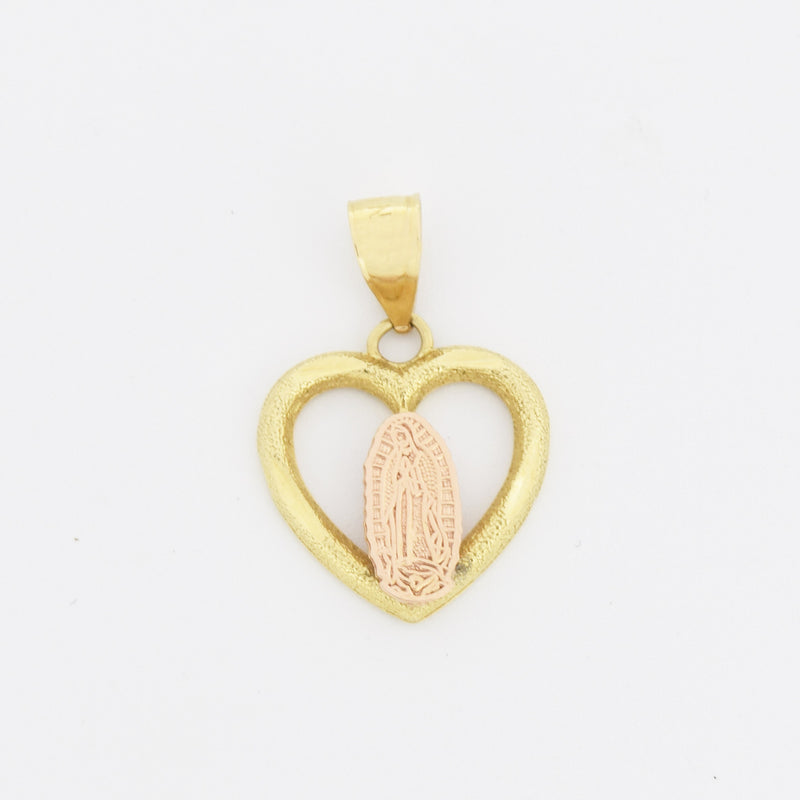 14k Yellow & Rose Gold Open Heart Mother Mary/Virgin Mary Pendant