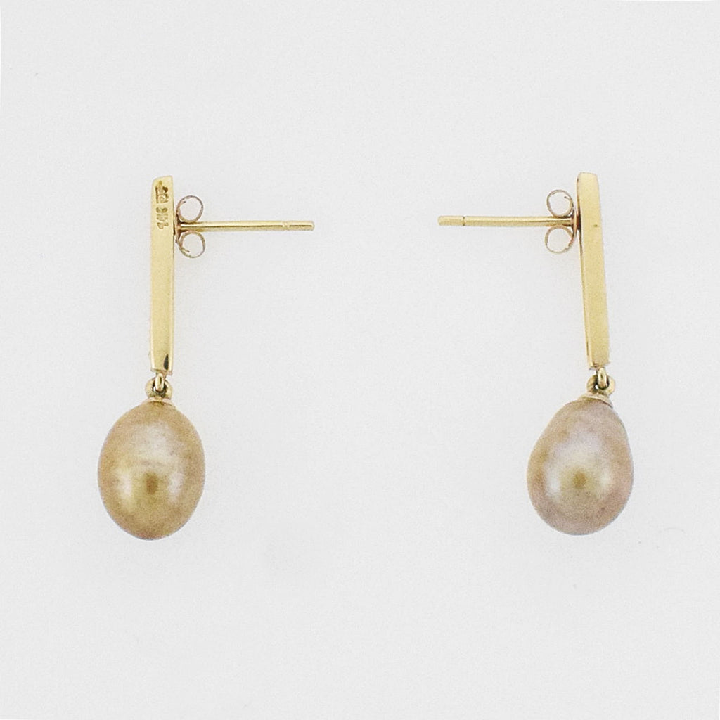 14k YG Diamond 0.08 tcw/Pearl Drop/Dangle Post Earrings